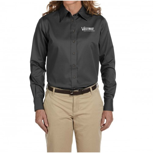 Ladies Long Sleeve Blended PinPoint Oxford
