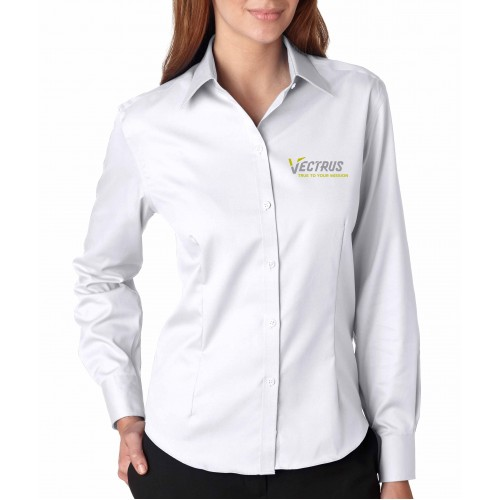 Ladies Long Sleeve Pin Point Oxford